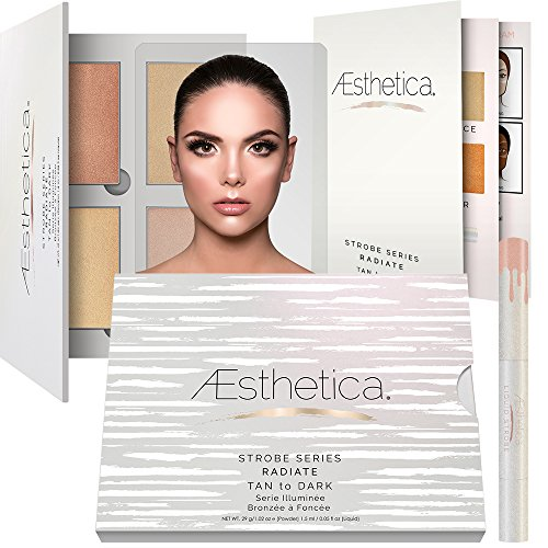 Aesthetica Strobe Series Highlighting Kit - 5-Piece Makeup Palette Set - Includes 4 Illuminating Powders and 1 Liquid Highlighter - Step-by-Step Instructions Included - Tan to Dark Radiate