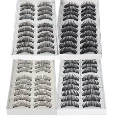 Imcolorful Black Long Thick Reusable False Eyelashes Fake Eye Lash for Makeup Cosmetic 4 Kinds of Style 40pairs Mix