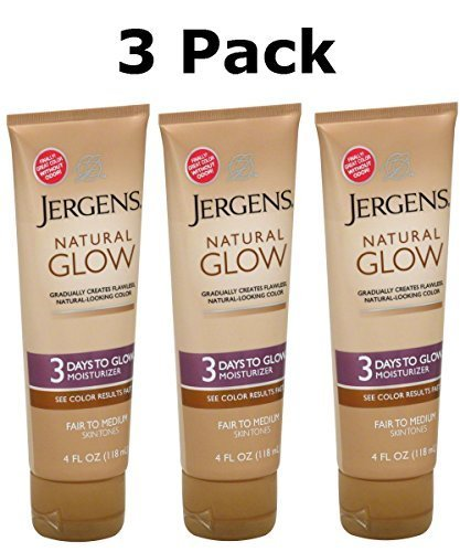 Jergens Natural Glow Fair to Medium Skin - Tanning Moisturizer Lotion 4 Ounce 3 Pack