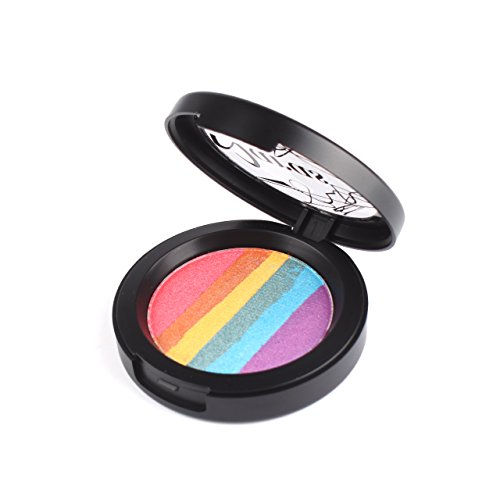 KeyZone Colorful Rainbow Highlighter Powder Blusher Eyeshadow Palette Shimmer Eye Shadow Regular