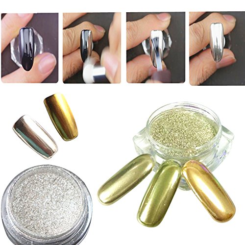 BORN PRETTY 2 Box Mirror Powder Gold Silver Pigment Nail Glitter Nail Art Iridescent Powder with Matching Brushes Silver and Gold
