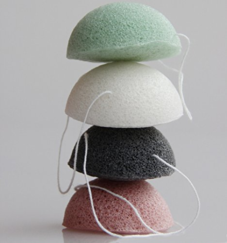 8 Pack Hemisphere Shape Natural Konjac Sponge Facial Puff Face Wash Cleansing& Exfoliating Beauty Sponges with Bamboo Charcoal and Green Tea