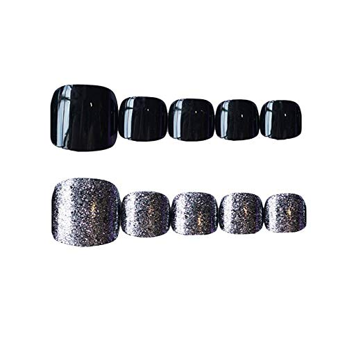 24Pcs Short Glitter False Toe Nails Full Cover Acrylic Feet Nail Art Tips Press On Fake Toenails Black