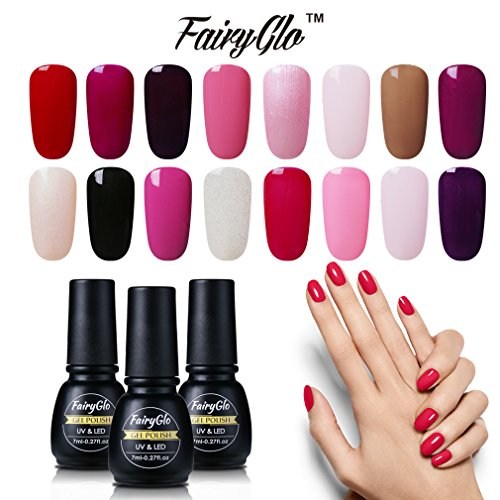 FairyGlo Pick Any 8 Colors Nail Varnish UV LED Gel Nails Starter Kit Soak Off Top Base Beauty Manicure Decor Kit Beauty Wearing 7ml