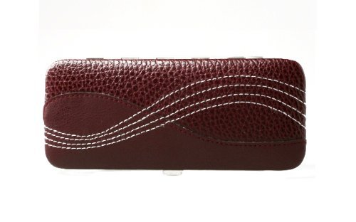 Pfeilring Calfskin Manicure Case with 5 Stainless Steel Accessories - Burgundy by Pfeilring