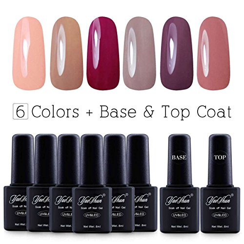Yaoshun Brand 8ml 8Pcslot Soak Off UV Led Gel Nail Polish Colors Kit 003