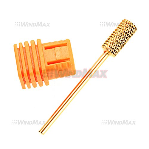 Ships From CA USA 332 Gold Medium Size Flat Carbide Electric Nail File Drill Bit Cylinder Drill Bits Manicure 02
