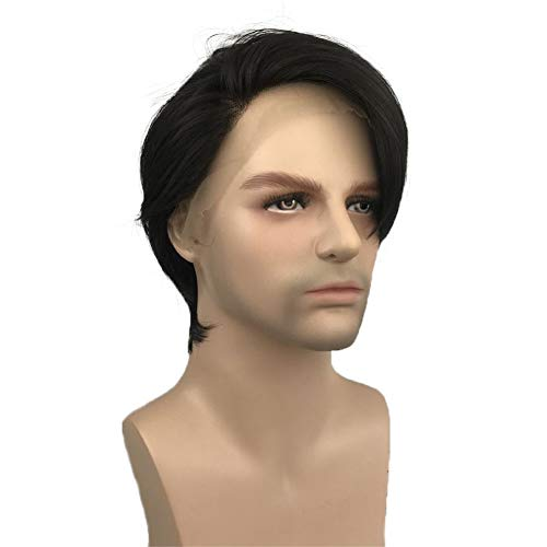 Aimole Lace Front Wig Men Hair Short Straight Synthetic Wigs Heat Resistant Fiber Natural Black Hair