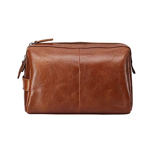 AULIV Full Grain Leather Toiletry Bag for Men Dopp KitPerfect Travel OrganizerTravel CasePackaged for GiftingDark Tan