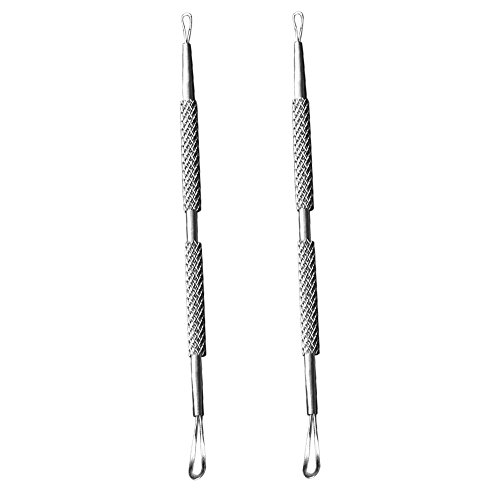 Sanwood 2Pcs Stainless-Steel Blackhead Blemish Remover Dual Loop Acne Pimple Extractor Silver