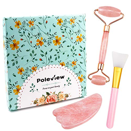 Jade Roller Gua Sha Massage Set Anti-Aging-jade Beauty Skincare Tool-100 All-Natural Rose Quartz Roller for face-Anti Aging Wrinkle Facial Massager Therapy- With Mask Brush