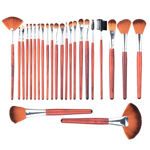 Makeup Brush PeleusTech 24Pcs Wooden Handle Professional Cosmetic Makeup Brush Set with Black PU Leather Case
