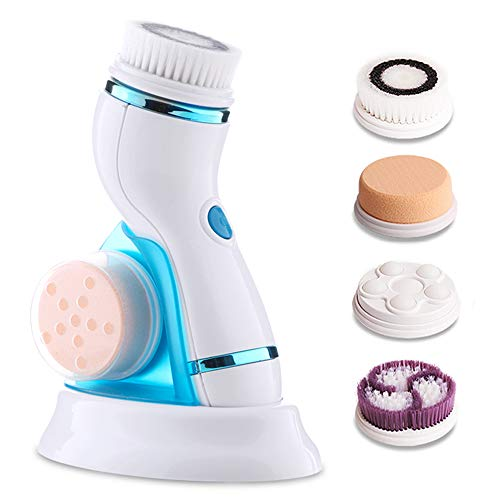 Facial Cleansing Brush Waterptoof Rechargeable Electric Face Spin Brush with 4 Brush Heads for Deep Cleansing Gentle Exfoliating Removing Blackhead Massaging