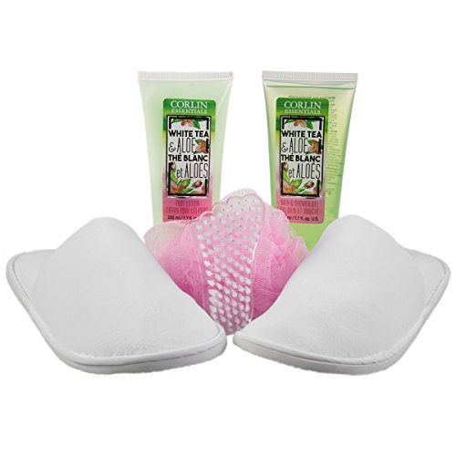 6pc Corlin Spa Gift Set Slippers With Foot Lotion Bath Shower Gel Brush Pouf Sponge For Women