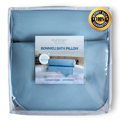 The Bonnieu Luxury Bath Pillow by Blue Coast Collection Best Neck and Shoulder Support with Super Soft Fibers 4 Large Suction Cups Non Slip bathtub pillow Odor Resistant Large Size Quick Drying
