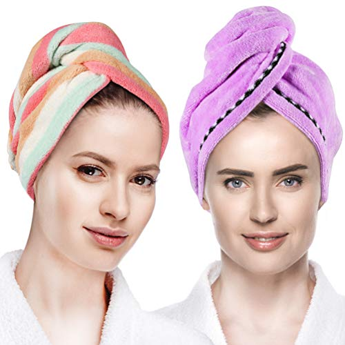 Microfiber Hair Towel Wrap Quick Dry Hair Wrap Towels - Hair Drying Towels Turban for Wet Hair Absorbent Hair-Drying Towel Wrap for Women Girls Rainbow  Purple 2 Pack