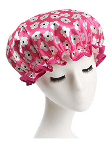 Moolecole Womens Floral Waterproof Double Layer Shower Cap Elastic Band Bathing Cap Spa Shower Hat Pink