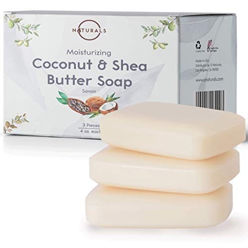 O Naturals 3 Piece Moisturizing Organic Coconut Oil Shea Butter Bar Soaps Softens Nourishes Dry Skin Face Hands Body Wash Made in USA Triple Milled Vegan 4 Ounce Each