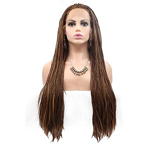 HYH Dyed Long Curly Hair Ladies in Europe and America Wig Set in The Middle of The Chemical Fiber Wig Hair Set - Small Tweezers - Brown - Long Hair Beautiful Life