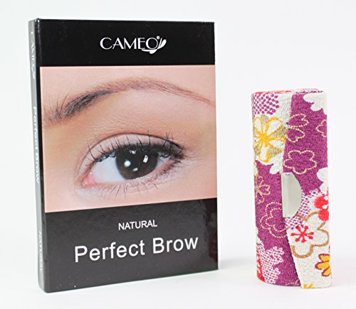 1 Dark Purple Flower Lipstick Case  1 Cameo Cosmetics Natural Perfect Brow Eyebrows Color Brush Stencils Tweezer Brush