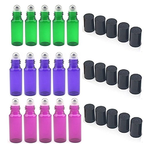 SUNREEK 5ml Glass Refillable Bottles with Stainless Steel Roller Balls Set of 15 for Aromatherapy Essential Oils Perfumes Lip Balms 5Pcs Green 5Pcs Purple 5Pcs Violet Colored