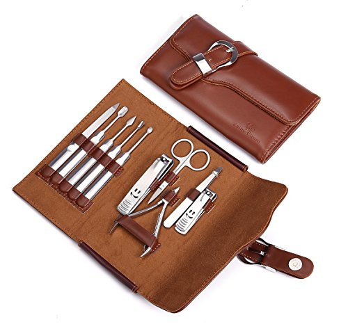 Keiby Citom Premium Nail Clipper Set of 10pcs with Leather Case - Professional Stainless Steel Grooming Kit Manicure Pedicure Set for Travel