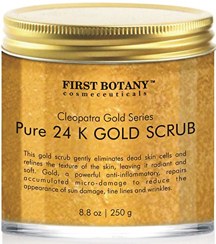 The BEST 24K Gold Scrub for Face and Body 88 oz reduces the appearance of Sun Damage Fine Lines and Wrinkles- Powerful Body Scrub Exfoliator and Daily Moisturizer For All Skin Types