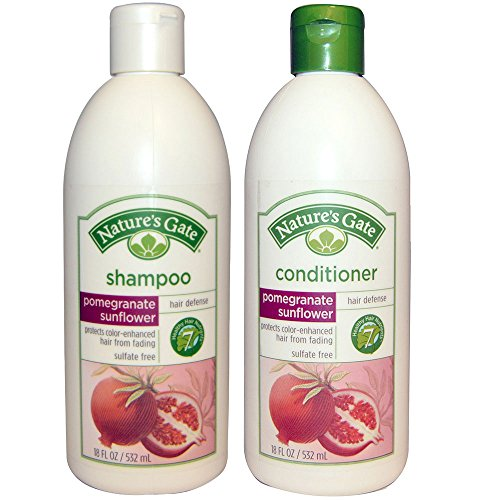 Natures Gate All Natural Organic Pomegranate Sunflower Defense Shampoo and Conditioner Bundle with Anti-dandruff Flaky Scalp Treatment 18 Fl Oz Each