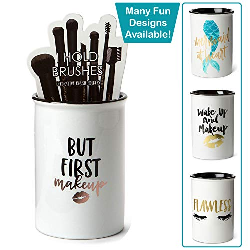 Tri-coastal Design Ceramic Makeup Brush Holder StorageBut First Makeup Cosmetic Organizer for Make Up Brushes and Accessories - Round White Cosmetics Cup for Bathroom Vanity Countertop