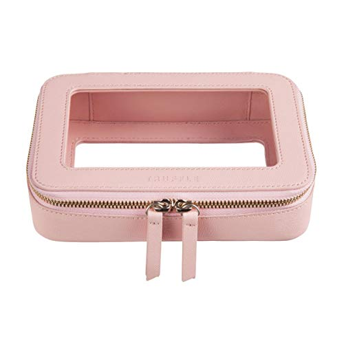 Leather Clear Makeup Bag with Dual Round Zipper Transparent Pink Toiletry Bag for Travel Cosmetic Beauty Organizer