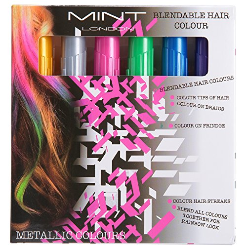 Hair Chalk - Metallic Glitter Temporary Hair Color - Edge Chalkers - No Mess - Built in Sealant - Works on All Hair Colors - Color Essentials Set 6 Count By SySrion