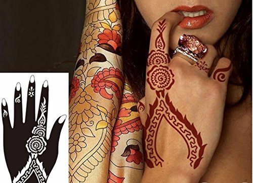 Henna Stencils AS SEEN IN VOGUE PACK OF 5 Tattoo Mehndi Reusable Stickers Left Hand View amazon detail page