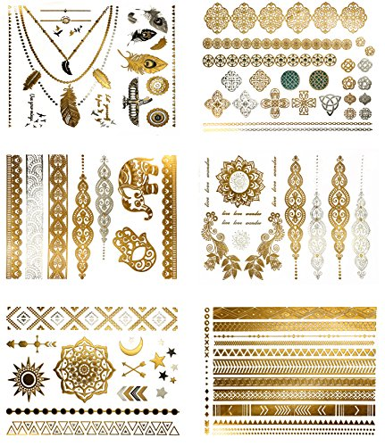 Premium Metallic Tattoos - 75 Shimmer Designs in Gold Silver Black - Temporary Fake Jewelry Tattoos Serenity Collection
