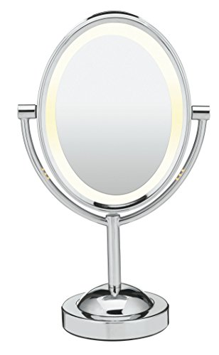 Conair Oval Double-sided Lighted Makeup Mirror Polished Chrome Finish