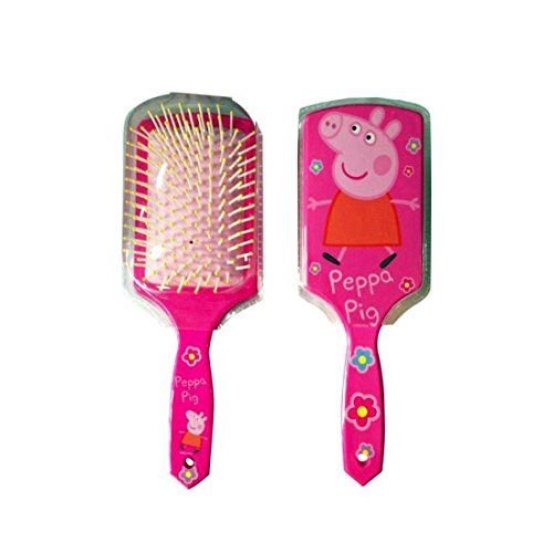 Girls Pink Square Shaped 7 Inch Long Paddle Hair Brush Peppa Pig