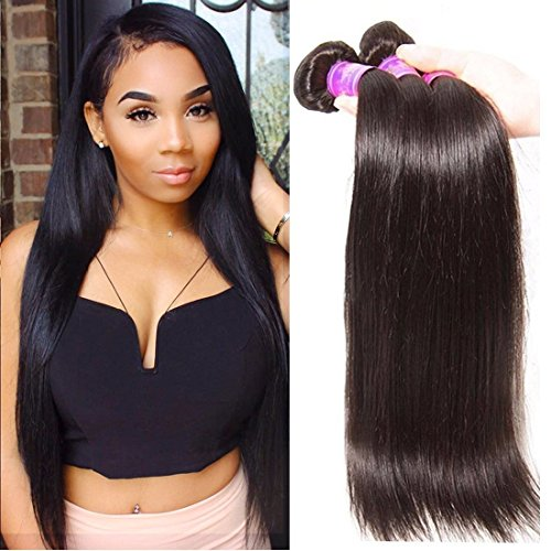 ALI JULIA Wholesale 7A Brazilian Straight Virgin Hair Weave 3 Bundles 100 Unprocessed Remy Human Hair Weft Extensions 95-100gpc Natural Black Color 20 22 24