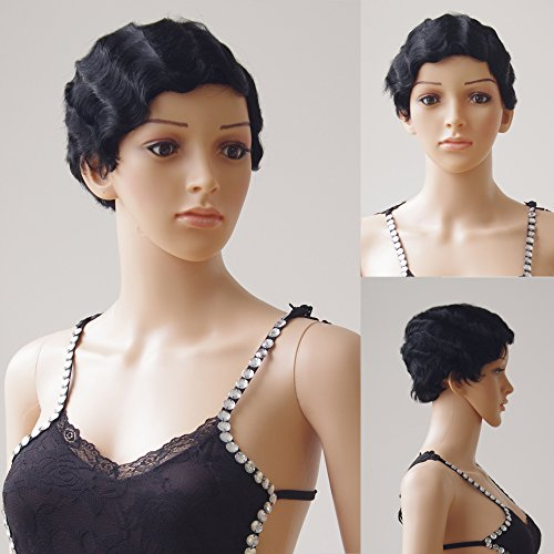 S-noilite 100 Remy Human Hair Wigs Short Finger Wave Mommy Natural Full Wig for Sexy Women Party Dress 1-Jet Black