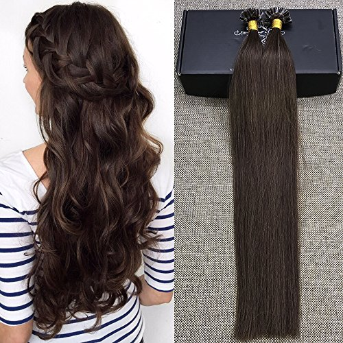 Full Shine 20 1g per Strand 50 Gram Per Package Remy Hair Extensions Pre Bonded Hair Extensions Fusion Nail U Tip Keratin Human Hair Extensions Real Hair Color4 Chocolate Brown