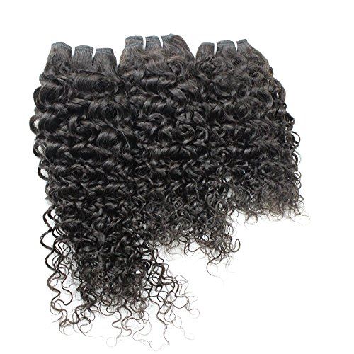 Single Drawn Jerry Curly Remy Hair 4 Bundles Double Weft Unprocessed Brazilian Jerry Curly Extensions Human Hair Weave Natural Black Color 16 18 20 Inch