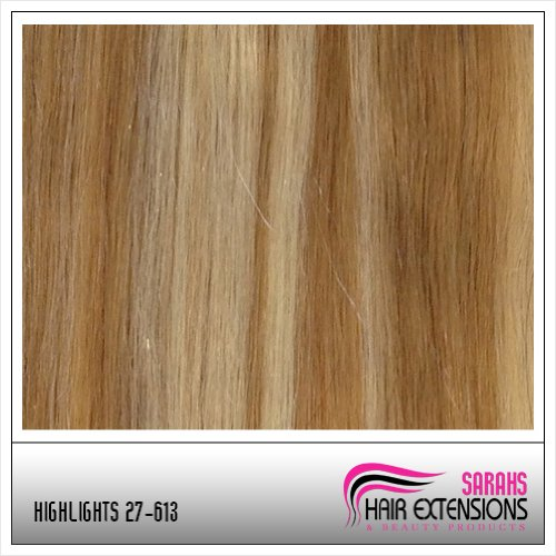 16 inch Brown Blonde 27613 Full Head Clip in Human Hair Extensions High quality Remy Hair 120g Weight