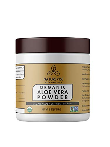 Organic Aloe Vera Leaf Powder 8 Ounce - Aloe Barbadensis - USDA Certified Organic  Hair Care  Promotes Skin Health  Ayurvedic Herbal Supplement