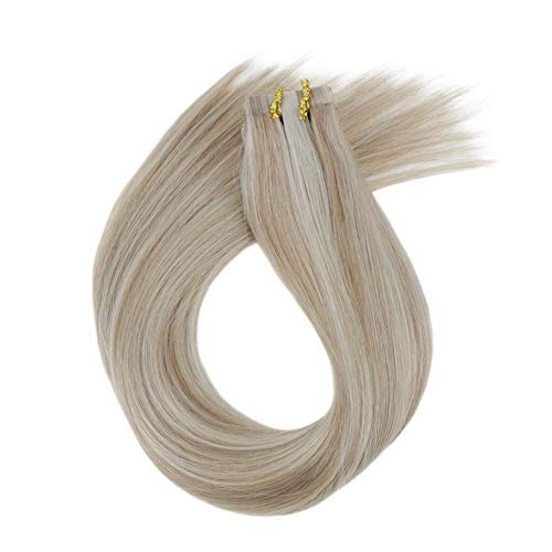LaaVoo Highlighted Human Hair Extensions Tape in Piano Color 18 Ash Blonde Mix Color 24 Light Blonde Tape on Hair Extensions 100 Real Human Hair Double Sided Tape 22inch 20Pcs 50GPackage