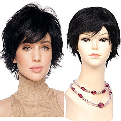 Mike Mary Short Wavy Human Hair Wigs for Women 1 Jet Black Remy Hair Wigs