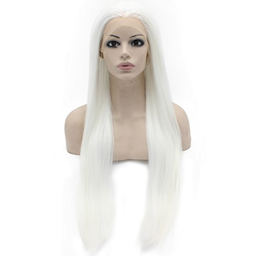 30inch Long White Synthetic Hair Fiber Natural Wigs Long Straight Lace Front Wig at Mxangel
