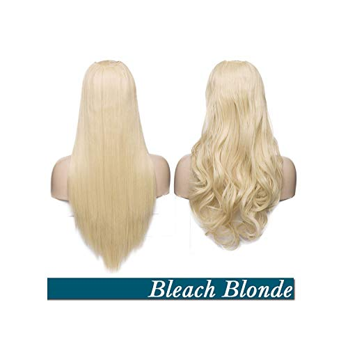 Hair Extension Clips In One Piece Wavy 34 Full Head Wig Long False Hairpieces Brown Black for WomenBleach Blonde24Inch-Wavy