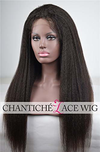 Chantiche Italian Yaki 4x4 Silk Top Human Hair Lace Front Wigs with Baby Hair for Black Women Glueless Brazilian Best Remy Human Hair Wig Invisible Parting 130 Density 16 Inches 1B