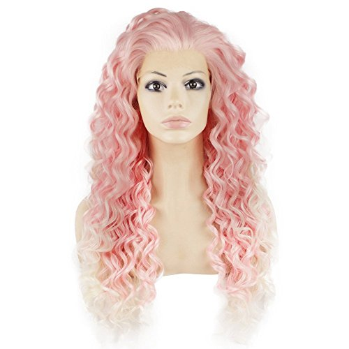 Mxangel Long Heat Resistant Synthetic Hair White tip Pink Celebrity Stylish Curly Lace Front Wig
