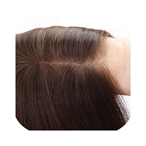 Cube Women Hair Wigs Ladies Party Daily Natural Wave Dark Brown Side Parting Synthetic Lace Wigs with Bangslamp10718 inch