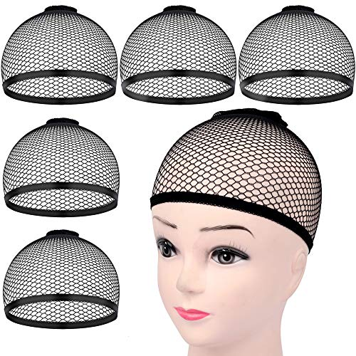 HNYYZL 5Pcs Wig Caps Black Mesh Net Wig Cap Stretchy Open End Wig Caps for Long or Short Hair Hold Securely in Place