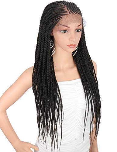 Kalyss 28 Hand-Braided 13X6 Lace Frontal Side Part Twist Braids Wigs with Baby Hair for Black Women 100 kanekalon Black Synthetic Lightweight Hand-Tied Lace Front Box Braided Wig